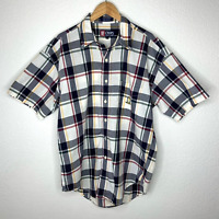 VTG Chaps Ralph Lauren Men's Button Down Plaid Shirt Size Large Short Sleeves