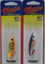 2 - Mepps Syclops Spoons - 1/4 oz. - Black/White & Hot Orange/Chartreuse