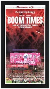 Tampa Bay Buccaneers Super Bowl 55 LV Framed Newspaper Print Framed in Black!