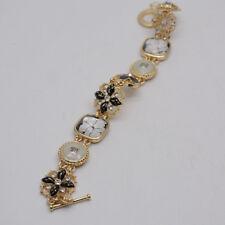 Napier signed women jewelry enamel flower resin tennis bracelet gold tone bangle
