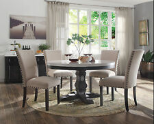 NEW 54 ROUND WHITE MARBLE WEATHERED BLACK WOOD DINING TABLE W 4 BEIGE LINEN