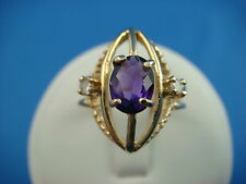 14K YELLOW GOLD AMETHYST AND 2 DIAMONDS RING 3.1 GRAMS SIZE 5 1/4