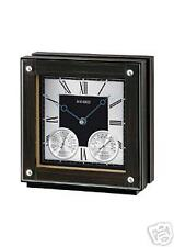 SEIKO EBONY VENEER WOOD CASE TABLE CLOCK , thermometer QXG125BLH