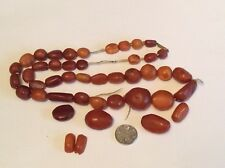 Antique 100% Amber Bead Necklace 9ct Gold Clasp