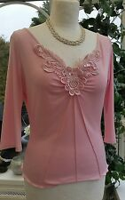 Beautiful Venus of London Pink top, Size M/L Very Stretchy - VGC