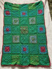 Multi Green Handmade Crochet Blanket