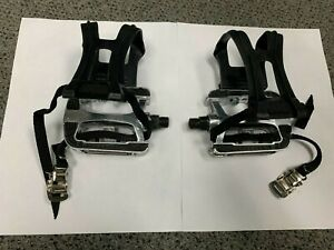 Indoor Bike Pedals, 9/16 Inch Bicycle Pedals With Toe Clips, Sealed Anti-Slip