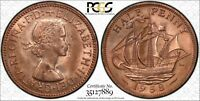 1958 GREAT BRITAIN 1/2 PENNY PCGS MS63RB GREAT COIN!!!