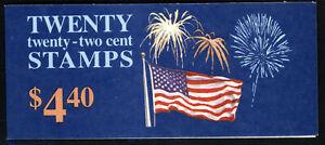 SCOTT 2276c BK 156 1987 22 CENT FLAG & FIREWORKS ISSUE MNH OG VF!