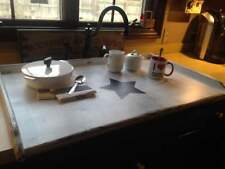 SHABBY CHIC Extra Large Wood Stove Top Cover white with black star