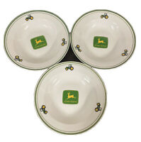 """John Deere Tractor Gibson 9"""" Salad Bowls Dishes Set Of 3 China"""