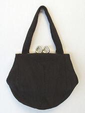 VINTAGE 1940s BLACK CORDE EVENING BAG HANDBAG WEEDS CORDE BRASS FRAME