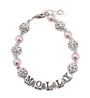 Personalized Name Baby Bracelet with Swarovski Pink Pearls and Clear Crystals