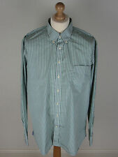 "HACKETT Shirt 4XL 17.5"" Green & White Stripes"
