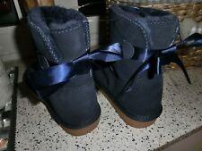 AUSTRALIA LAM Leather Boots Leder Lammfell Stiefel blau Schleife Gummisohle G 31