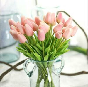 10 Pink Artificial Wedding Flowers Real Touch Tulip Bouquet for Bridal Bouquets