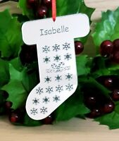 PERSONALISED CHRISTMAS STOCKING TREE DECORATION BAUBLE XMAS GIFT ORNAMENT SILVER
