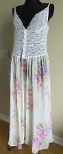 VICTORIA'S SECRET Collection White Lace & Sheer Slip Nightie Flowers M Brand New