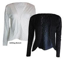 LADIES WOMANS OPEN CARDIGAN LIGHTWEIGHT LONG SLEEVED BLACK WHITE 10 12 14 16 18
