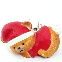 Christmas Teddy bear figure ornament decoration figurine Plastic Vintage