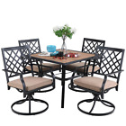 Patio Dining Furniture Set 5 Pcs Garden Square Table Swivel Chairs With Cushion