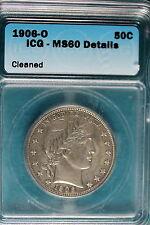 New listing 1906-O Icg Ms60 Details Barber Half Dollar! #B5976