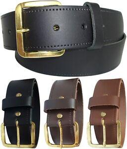Mens Leather Belt New Gilt Buckle Trouser Belts Tan Brown Black Trousers Jeans