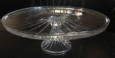 Vint Crystal Glass Cake / Pastry Stand Pedestal Serving Footed Platter Elegant*