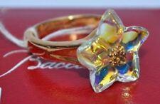 $1200 Baccarat Blossom Iridescent Crystal Star 18k YG Ring 53 Size 6.5 New n Box