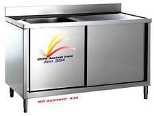 Lavello cm 120x70x85 100% AISI 304 in Acciaio Inox Lavatoio 1 Vasca Armadiato