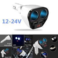 12v 24v 2 Way Auto Car Cigarette Lighter Multi Socket Twin USB Charger Adaptor