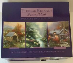 Kinkade Puzzle 3 Full Size 500 Piece Country Memories Petals of Hope Cottage