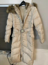 Laundry By Shelli Segal Long Beige Belted Faux Fur Lined Hooded Coat Sz M Rare
