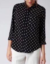 Topshop Cosplay Bloggers Black Cream Diamond Print Blouse Shirt - UK 6 Petite
