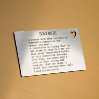 'Soulmate' Wallet Card Insert With Heart Cut Out - I Love You Gifts For Him/Her