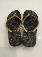 havaianas flip flops women High Brown And Gold Size 4