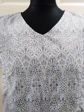 Maternity Dress Smart Grey & White Pattern - Breastfeeding/Nursing ~ L - Vgc