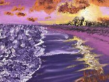 Oil Painting Seascape Beach Scene Ocean Sunset
