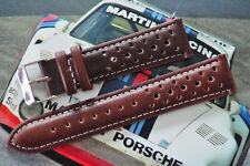 21mm European HandMade Rally Racing Leather Watch Strap Brown/White Stitch Band