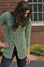 "Kirsten Kapur Knitting Pattern Zelkova Womens Lace Panel Shaped Cardigan 30""-52"""