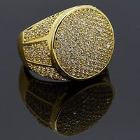 Men HQ 14K Gold Plated Round Side CZ Hip Hop Ring Sizes 7-12