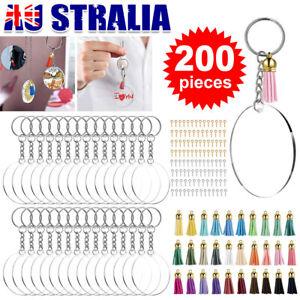 200x Clear Acrylic Circle Discs Keychain Blanks Tassel Pendants Key Ring DIY Kit