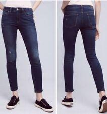Anthropologie Pilcro Letterpress Stet Jeans 29 Distressed Stretch Dark Blue