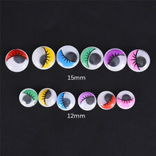 100pcs Coloured Eyelashes Wiggly Wobbly Googly Eyes DIY Craft 3c 15mm