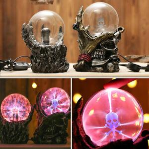 Gothic Black Skull Hand Tesla Glass Plasma Ball Lighting Lamp Party Magical UK