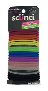 Scunci Everyday And Active No Slip Grip Strong Hold 28 Count Of Elastics