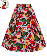 HELL BUNNY MEXICO circular SKIRT 50s style FLORAL cactus SKULL XS-4XL