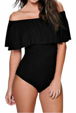 Women Ladies Bardot Frill Off Shoulder Bodysuit Stretch Party Leotard Top 8-14