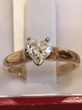 14k Solid Yellow gold Natural  diamond Heart solitaire  ring 0.75 ct