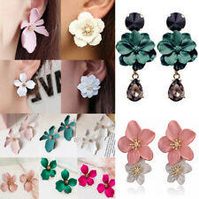 Fashion Boho Painting Big Flowers Ear Stud Earrings Women Charm Jewelry Gifts